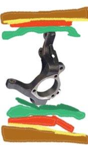 Steering knuckle sandwich